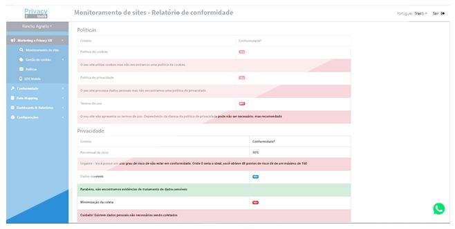 PrivacyTools - LGPD - Monitoramento de sites